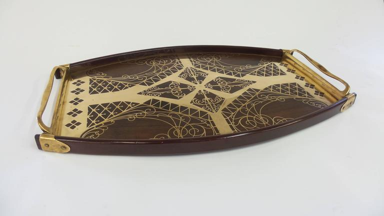 Brass and Rosewood Inlay Tray by Erhard & Sohne In Excellent Condition For Sale In Long Island City, NY