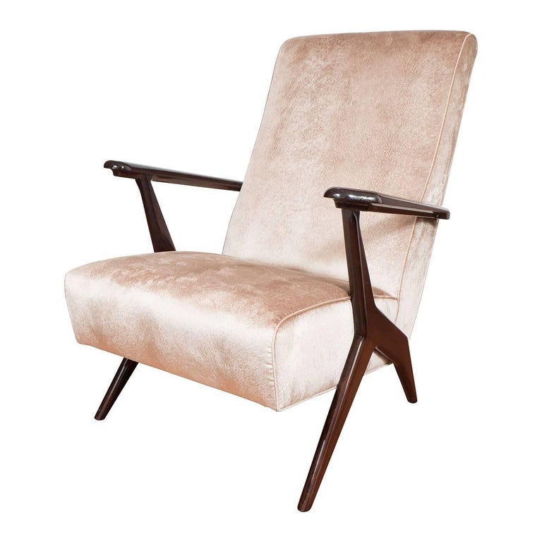 Pair of Stylized Armchairs with Angular Lacquered, Mahogany Finish Wood Frame