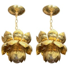 Small Brass Lotus Form Pendant Ceiling Fixtures by Feldman