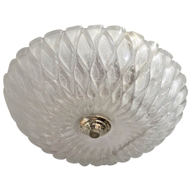 Dome Form Frosted Glass Flush Mount with Diamond Pattern and Nickel Detail