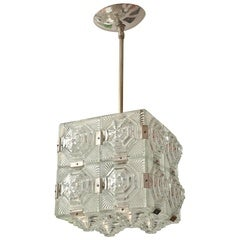 Cubic Pendant Composed of Textured Glass Square Elements in the Style of Kalmar