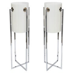 Pair of Tall Chrome and White Tubular Lucite Table Lamps by Sonneman