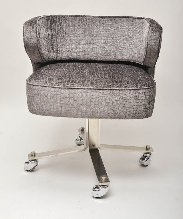 Chrome Upholstered Rolling Desk Chair For Sale at 1stdibs