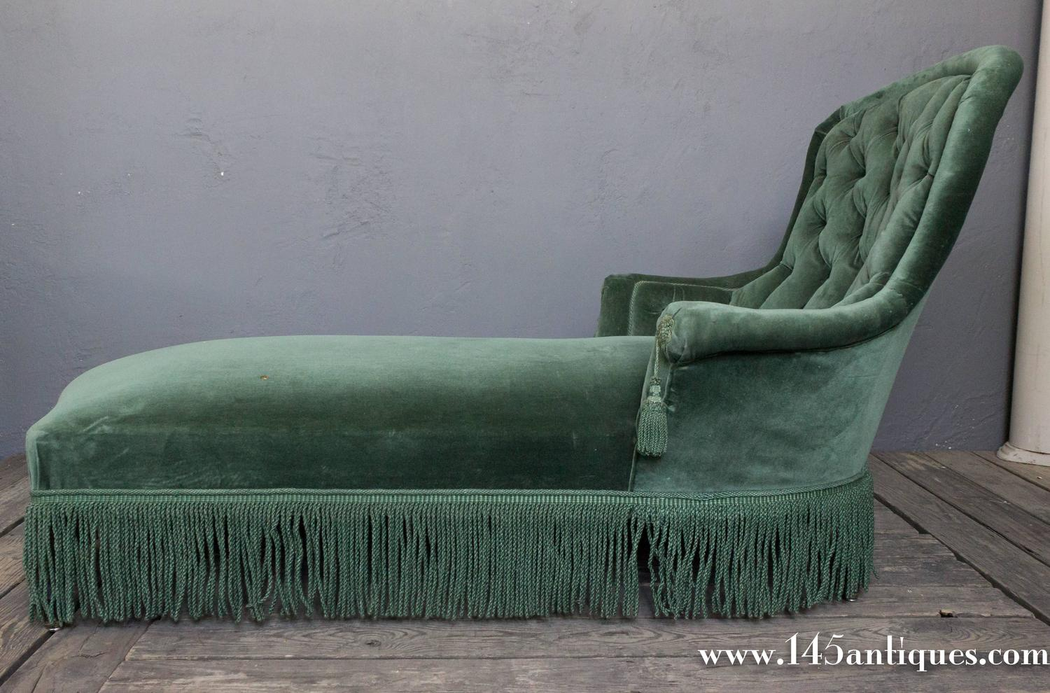 Green velvet chaise lounge 19th century napoleon iii for Buy chaise lounge uk