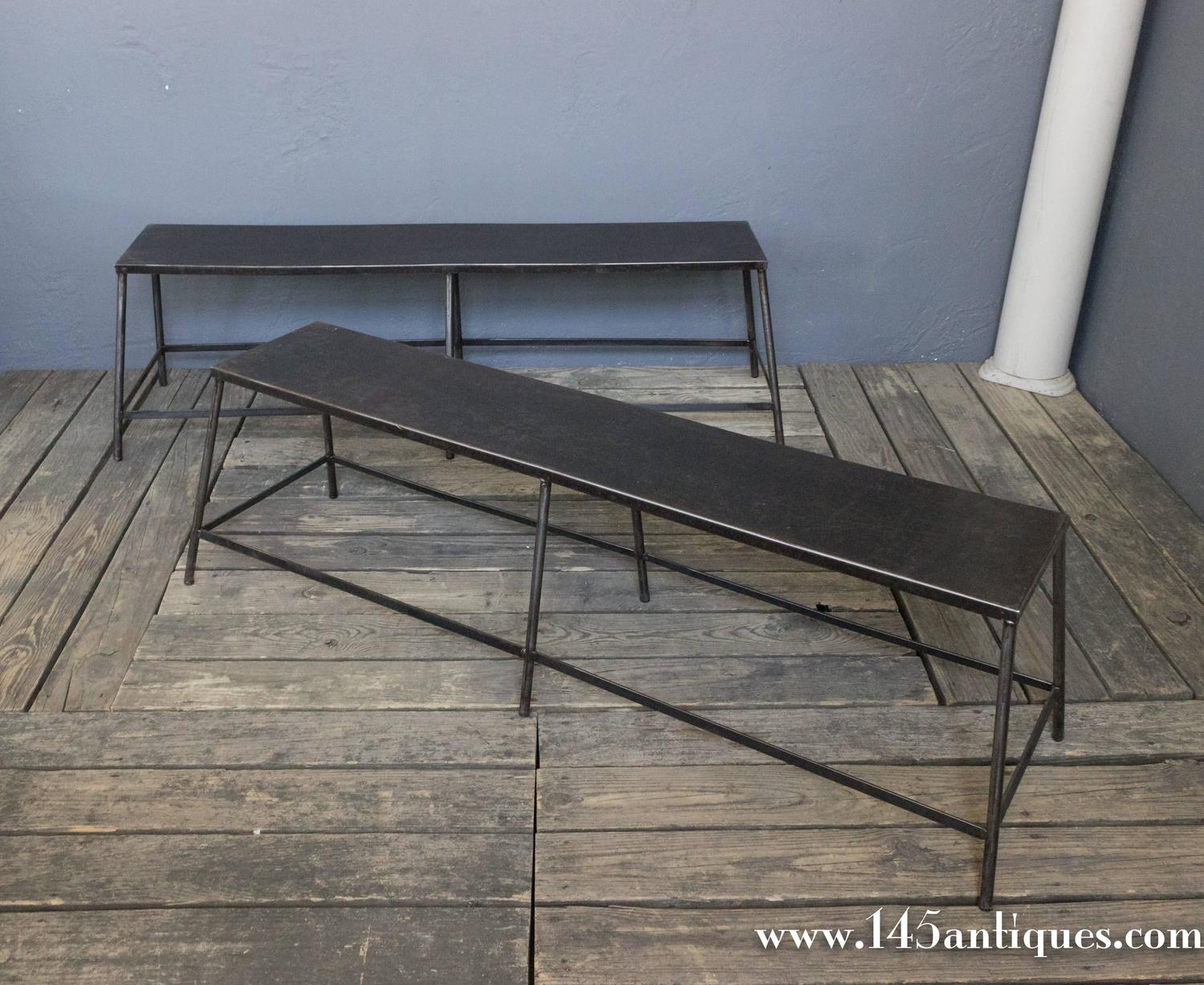 Pair Of French Industrial Metal Benches For Sale At 1stdibs