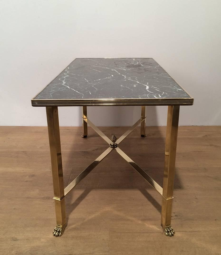 Brass And Faux Marble Coffee Table For Sale At 1stdibs