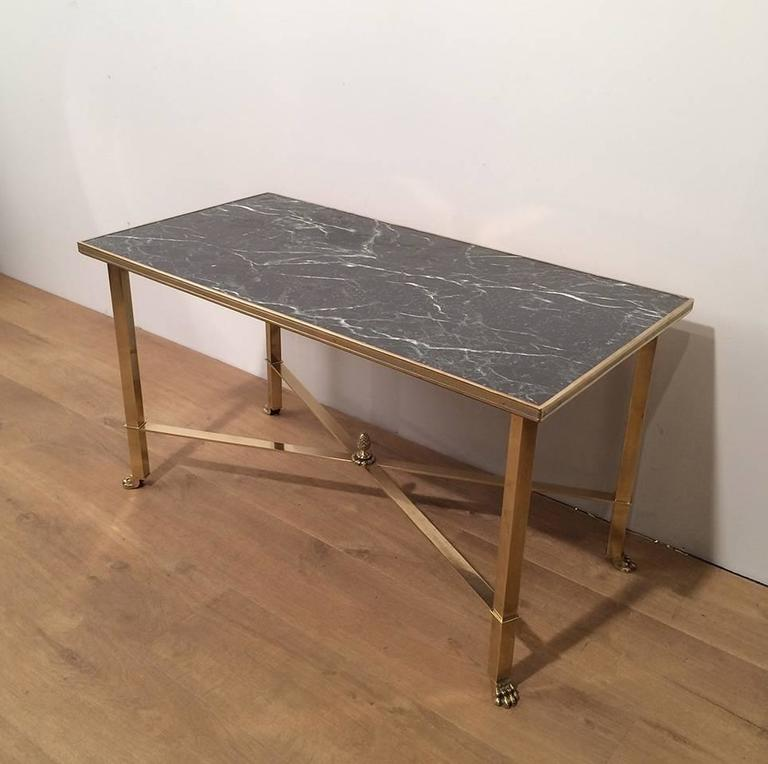 New York Marble Coffee Table: Brass And Faux, Marble Coffee Table For Sale At 1stdibs
