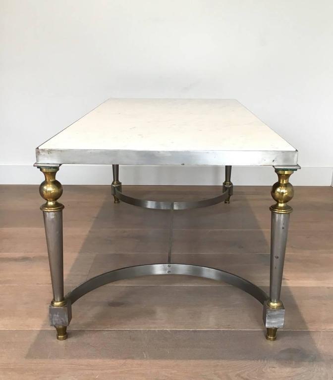Brushed Aluminum Coffee Table: Brushed Steel And Brass Coffee Table With Marble Top For