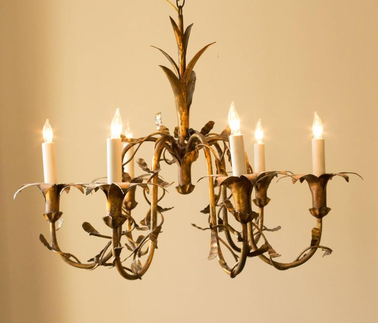 Mid-20th Century Spanish Gilt Metal Floral Chandelier For Sale