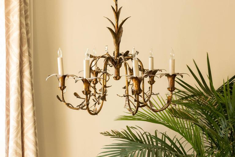 Spanish Gilt Metal Floral Chandelier For Sale 4