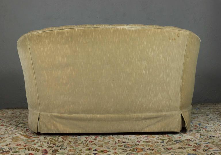 Small Tufted Sofa with Loose Seat Cushion For Sale 1