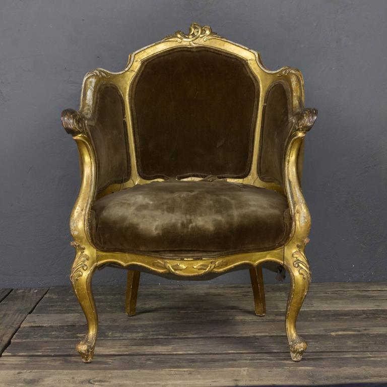 American French 19th Century Rococo Revival Giltwood Armchair For Sale