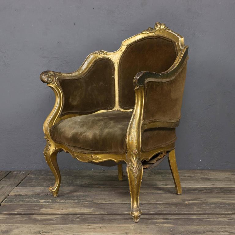 French 19th Century Rococo Revival Giltwood Armchair For Sale 2