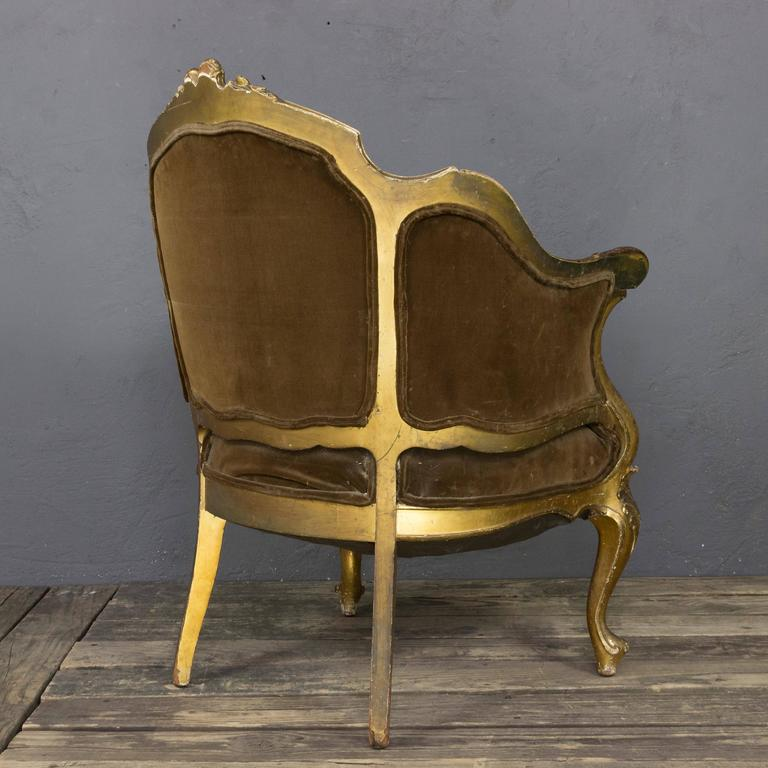 French 19th Century Rococo Revival Giltwood Armchair For Sale 3