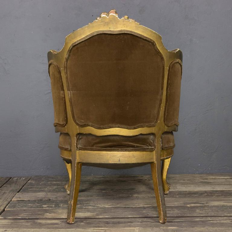 French 19th Century Rococo Revival Giltwood Armchair In Distressed Condition For Sale In Long Island City, NY