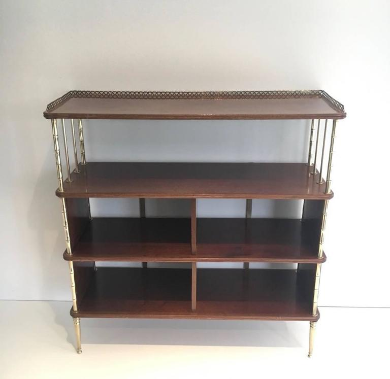 elegant brass and mahogany etagere by maison bagu s at 1stdibs. Black Bedroom Furniture Sets. Home Design Ideas