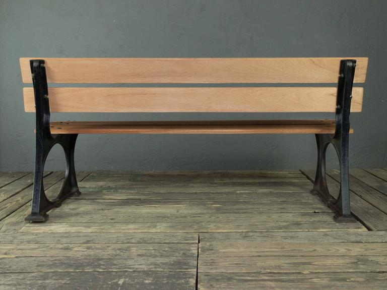 Cast 1920s French Iron and Mahogany Park Bench For Sale