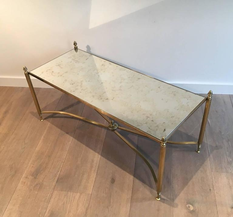 French Brass And Antiqued Mirror Coffee Table, 1940s At