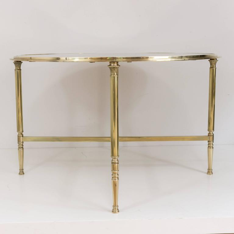 Round Brass Coffee Table With Antiqued Mirror In The Style Of Maison Jansen At 1stdibs