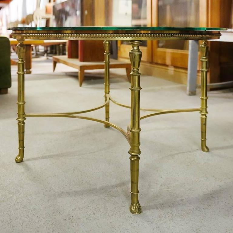 French Round Brass Coffee Table With Etched Glass Top For