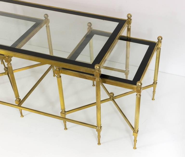 Set Of Three French Brass And Glass Coffee Tables In The