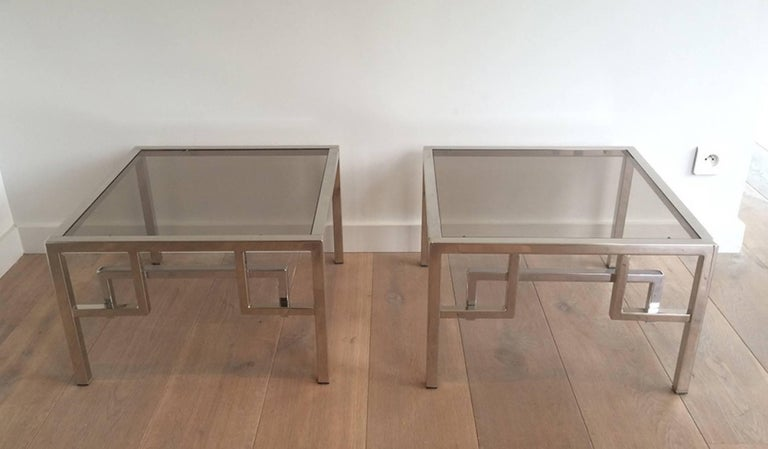 Pair Of Chrome Side Tables With Greek Key Design French Circa