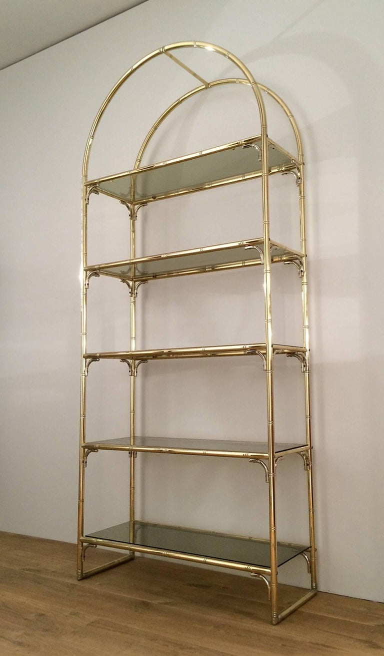 faux bamboo brass and chrome etagere in the style of maison bagu s for sale at 1stdibs. Black Bedroom Furniture Sets. Home Design Ideas