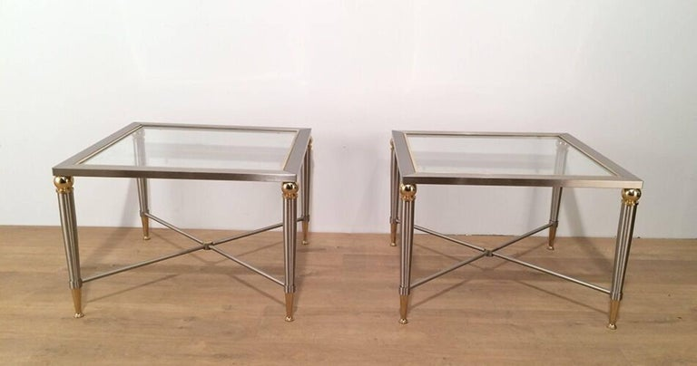 Mid-Century Modern Pair of Brushed Steel and Brass Side Tables For Sale