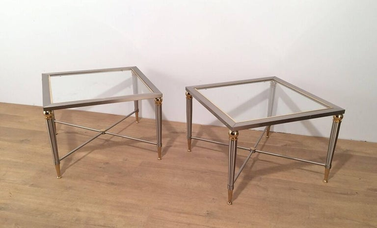 French Pair of Brushed Steel and Brass Side Tables For Sale