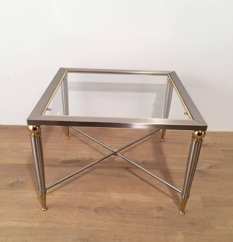 Pair of Brushed Steel and Brass Side Tables In Good Condition For Sale In Long Island City, NY