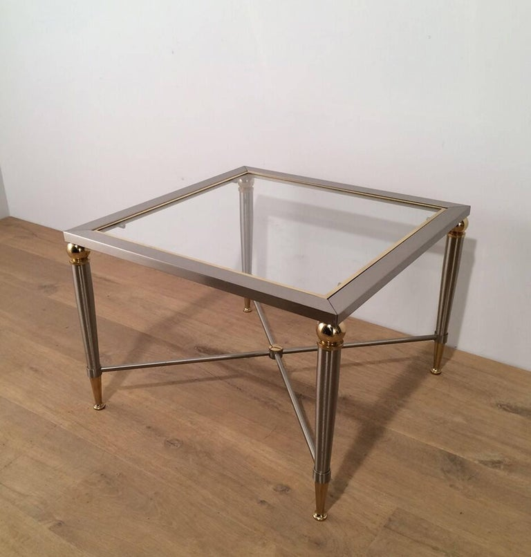 20th Century Pair of Brushed Steel and Brass Side Tables For Sale