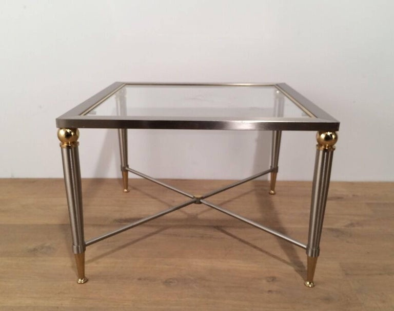 Pair of Brushed Steel and Brass Side Tables For Sale 1