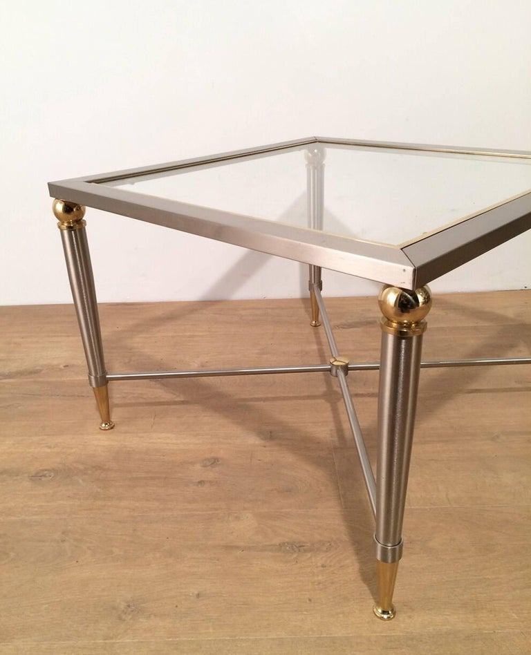 Pair of Brushed Steel and Brass Side Tables For Sale 2