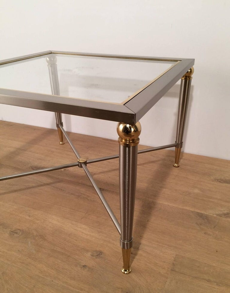 Pair of Brushed Steel and Brass Side Tables For Sale 3