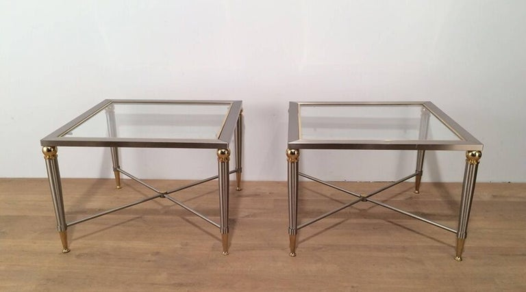 Pair of Brushed Steel and Brass Side Tables For Sale 4