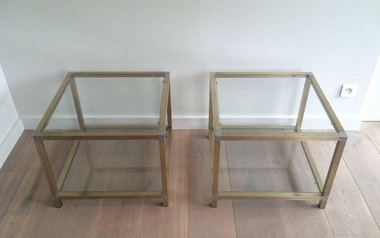 Pair of Brass Side Tables with Nickel Accents 2