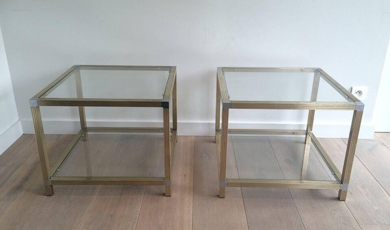 Pair of Brass Side Tables with Nickel Accents 3