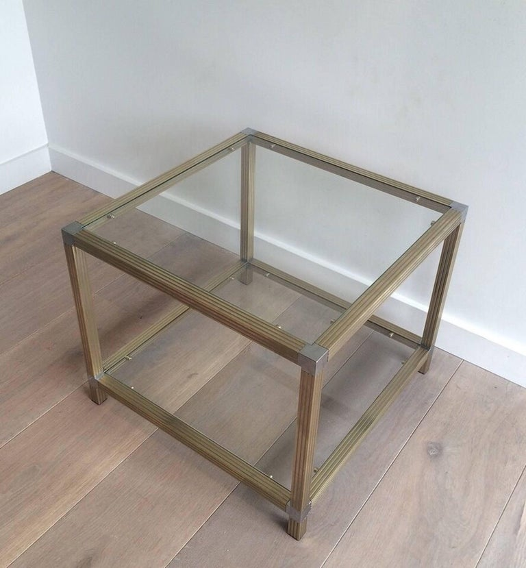 Pair of Brass Side Tables with Nickel Accents 4