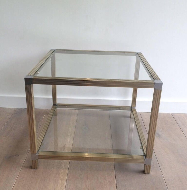 Pair of Brass Side Tables with Nickel Accents 5