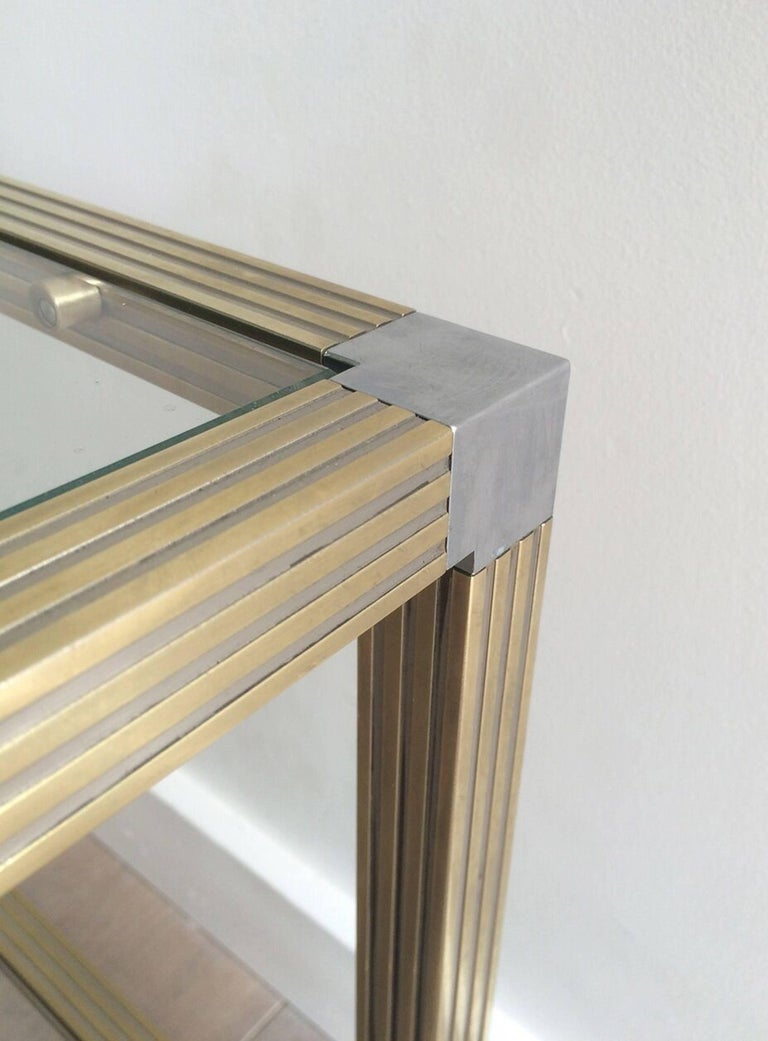 Pair of Brass Side Tables with Nickel Accents 7