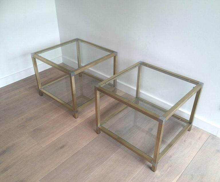 Pair of Brass Side Tables with Nickel Accents 10