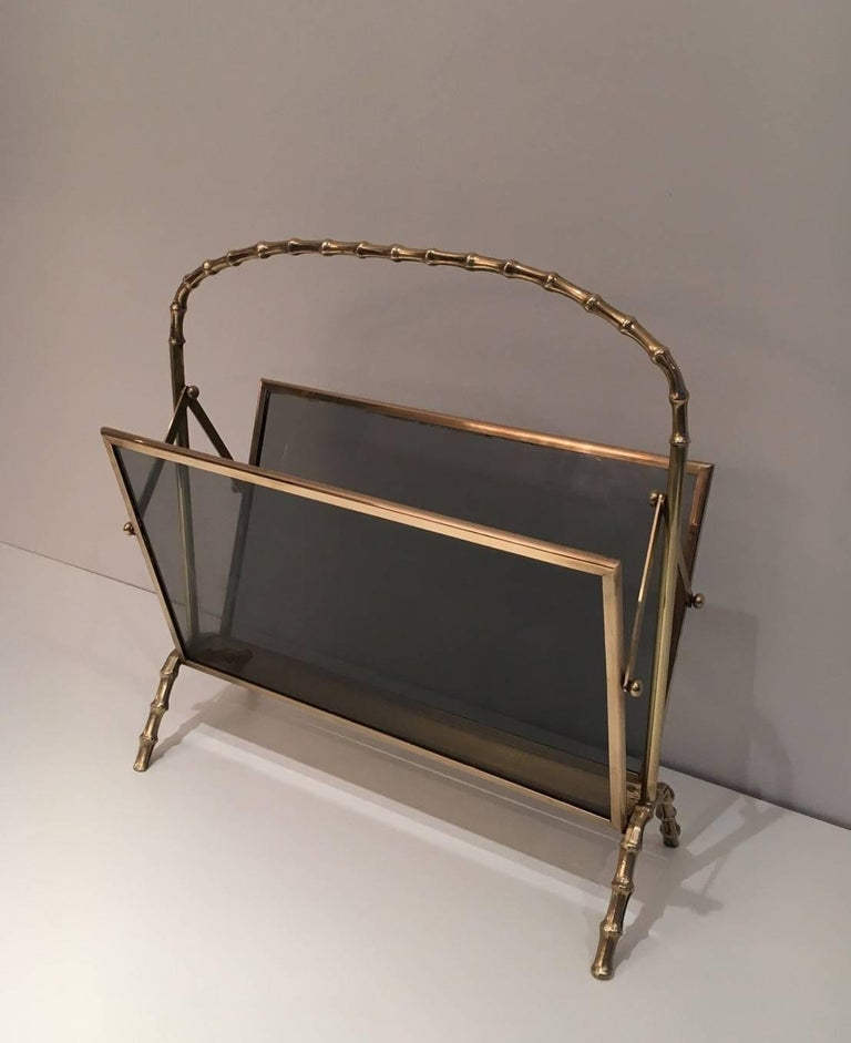 faux bamboo bronze magazine rack by maison bagu s circa 1940 at 1stdibs. Black Bedroom Furniture Sets. Home Design Ideas