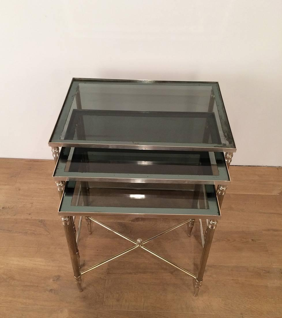 Set Of Three Nickel Plated Brass Nesting Tables With Blueish Glass Tops,  French,