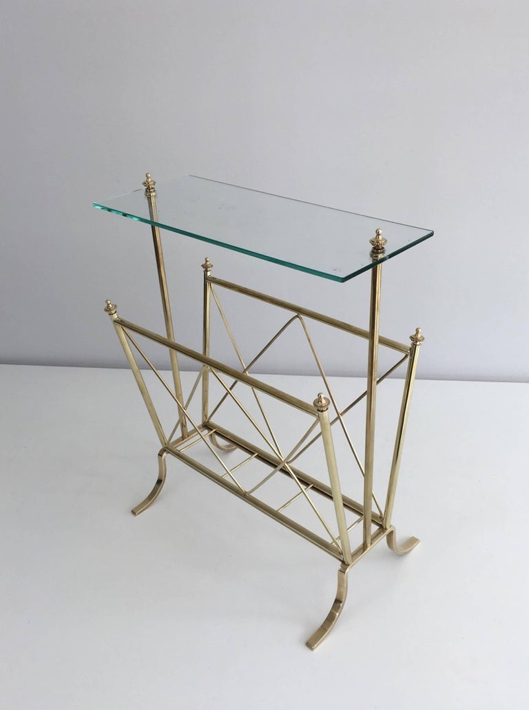 1940s French Brass and Glass Magazine Rack, Attributed to Maison Jansen For Sale 5