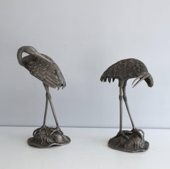 Pair of Silvered Bronze Stork Statues, Attributed to Maison Baguès