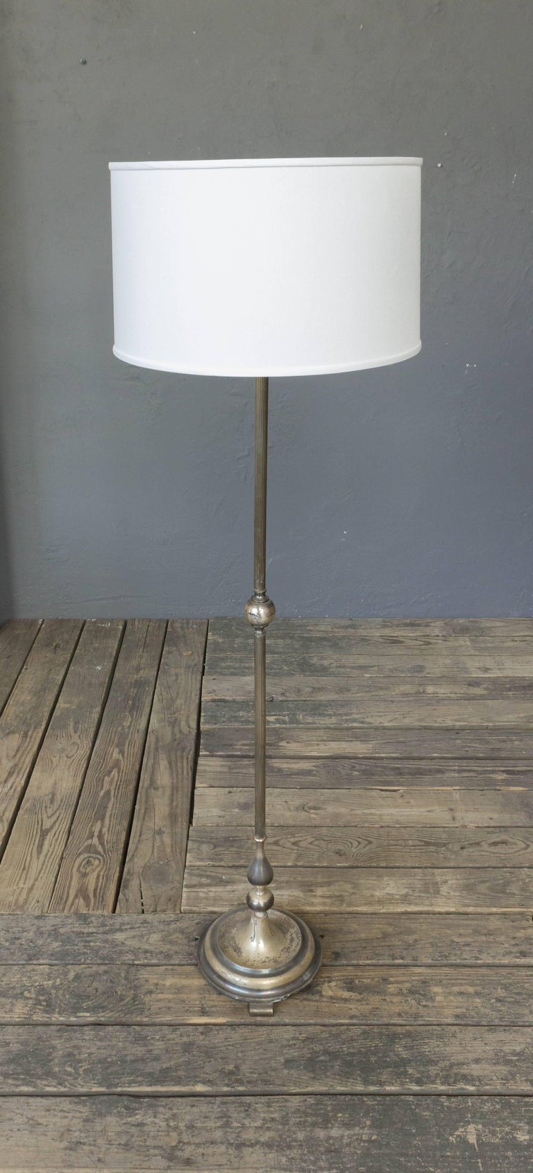 French Mid Century Modern Silver Plated Floor Lamp For Sale At 1stdibs Wiring A Silvered On Round Base Price Includes Polishing Or Plating