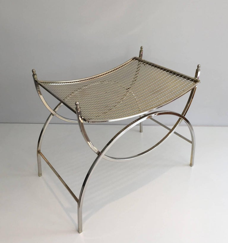 Mid Century Modern Stool In Nickel Plated Iron For Sale At