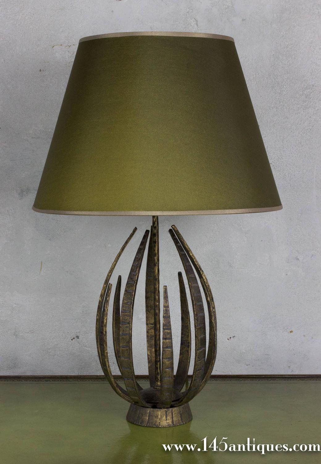 Unusual Gilt Metal Table Lamp For Sale At 1stdibs