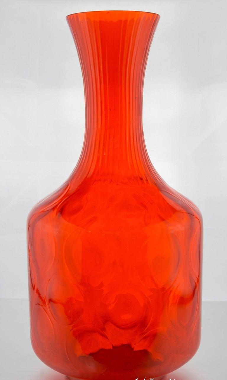 Large bright orange vase by empoli for sale at 1stdibs for Orange vase