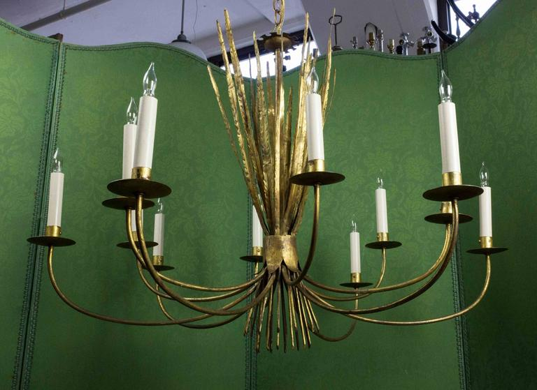 Gilt Metal Grass Chandelier For Sale at 1stdibs